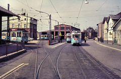 Once upon a time - Germany - Heidelberg Leimen (railasia) Tags: germany depot heidelberg infra sixties tramstop hsb overtake düwag metergauge routenº8 articulatedmotorcar