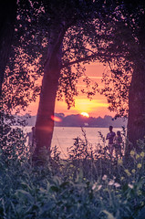 An evening stroll (Tberga|) Tags: trees sunset sun lake beach grass strand walking zonsondergang meer purple chairs hiking groningen rood paterswolde paterswoldsemeer picknick paars