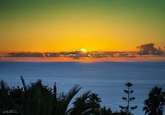 Sunset in El Sauzal, Tenerife (Ben Heine) Tags: ocean blue trees sunset red summer sun mer green art silhouette yellow clouds landscape photography vacances soleil seaside scenery holidays warm village horizon arbres frame tenerife prints canaryislands coucherdesoleil islascanarias elsauzal onthedraw veintiochoymedio