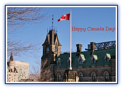 Happy Birthday Canada!!! (bigbrowneyez) Tags: party sky canada building dedication stone architecture fun downtown flag ottawa details bluesky celebration mapleleaf cheers festa celebrate compleanno happybirthdaycanada canadas147thbirthday