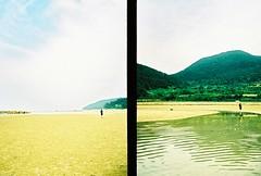 low tide x tide pool (ulanalee) Tags: ocean travel sea film beach 35mm xpro crossprocessed kodak halfframe southkorea olympuspen olympuspenee3 kodakelitechrome ebx   cheongsando cheongsandoisland cheongsanisland
