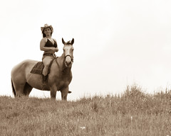 Cherie (Brad E Miller Photography) Tags: horse black grass hat boots outdoor jeans bikini shorts cowgirl cherie