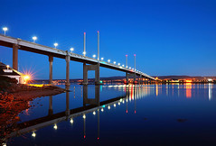 Kessock bridge reflection 2013 (johnellis70) Tags: bridge blue sunset seascape castle beach water field barley rock landscape scotland sand harbour cottage aberdeen bow stalker harris wreck groyne eileandonan luskentyre rossshire munlochy