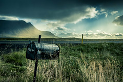 Mail me please (Sizun Eye) Tags: mail mailbox wilderness arkanes iceland islande scandinavia europe europedunord northerneurope meadows montagnes mountain sunbeam clouds cloudy weather nikond750 nikon d750 tamron2470mmf28 tamron 2470mm moody sky mood landscape paysage pdc dof focus gettyimages