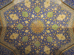 Beautiful blue Islamic art mosaic on Imam mosque ceiling - Isfahan, Iran (Germán Vogel) Tags: asia westasia middleeast silkroad iran islamicrepublic muslimculture middleeastculture travel traveldestinations traveltourism tourism touristattraction landmark holidaydestination mosque islam architecture imammosque religion muslimworld safavid muslim isfahan mosaic design tile tilework blue beautiful islamicart symmetry unesco worldheritage