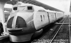 UP M-10000 on tour 1934 postcard (jsmatlak) Tags: up m10000 union pacific streamliner 1934 train railroad pullman