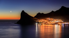 Accidental Twilight (TranceMist) Tags: africa capetown houtbay southafrica westerncape za twilight moon ocean mountain