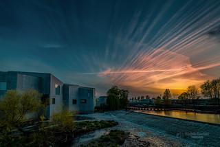Sunset over the river Calder weir