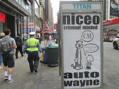 Niceo Wayne Auto Graffiti Art Calvin and Hobbs Comic Strip 4488 (Brechtbug) Tags: niceo wayne auto graffiti calvin hobbs newspaper comic strip characters art posters sidewalk phone booth 7th avenue near 34th street midtown nyc 2017 04172017 new york city profile design films movie funnies sunday papers bill watterson cartoonist tigre kid stuffed tiger st ave streets niceos criminal minded you been blinded guerilla ads cover manhattan culture jamming bombing since 1977 mass appeal reports same funny cartoon news paper cm