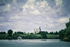 Northbound (Carrie McGann) Tags: boat river sacramentoriver sacramento clouds silos towers 041817 nikon interesting