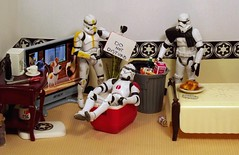 My Bad on the Death Star (ChicaD58) Tags: dscf8585a starwarsactionfigure actionfigure stormtrooper clonetrooper stormtrooperbruce stb tk1110 tk432 tv plant trashcan bed emptycan remote frenchtoast cooler endtable coffeemaker cupandsaucer screwdriver sign donotdisturb ivefallenandicantgetup