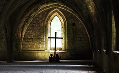 Seuls au monde (dominiquita52) Tags: streetphotography photoderue abbaye abbey fountainsabbey cluster cloitre enfants children zen meditation cross croix