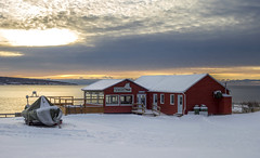 Seafood Anyone ? (Danny VB) Tags: percé restaurant snow winter sunrise reflection sky clouds house resto boat seafood sea canon 6d
