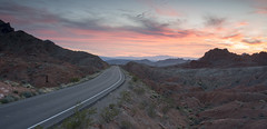 Sunset Road (magnetic_red) Tags: sunset sundown sky clouds red pink soft light beautiful mountains desert nevada americanwest blm