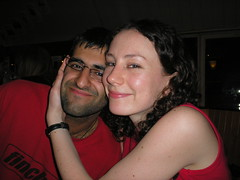 Ajay and Emily (Gary Kinsman) Tags: thewaterfront kingscollegelondonstudentsunion students youth university kingscollegelondon kcl studentbar bar 2005 london drinking smile happy flash wc2 pose posed portrait portraiture kclsu