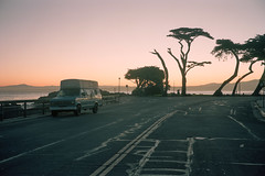 (patrickjoust) Tags: pacificgrove california montereycounty van parked sunrise trees pacificocean sea earlymorning fujicagw690 kodakportra160 6x9 medium format 120 rangefinder 90mm f35 fujinon lens cable release tripod long exposure c41 manual focus analog mechanical patrick joust patrickjoust usa us united states north america estados unidos northern ca