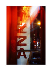 Self Portrait (James Eleftherion) Tags: leica m3 homedeveloped streetphotography zeiss 50mm c41 tetenal kodak cinefilm iso800 nyc night midnight shapes lightandshade manhattan film analog filmisnotdead geometry angles blacks witchinghour lines lights winter fujifilm frontier sp500 filmshooter sonnar shadow symmetrical mood pizza reds neonlights bokeh westvillage
