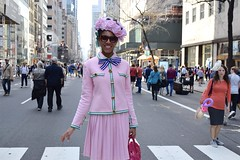 Fashion Forward (-»james•stave«-) Tags: newyork nyc manhattan easter parade fifthavenue fabulous hat bonnet flowers people woman smile fashion style color pink nikon d5300