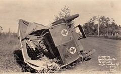 Kingaroy Ambulance Car in difficulties on the Crawford Road - 4 May 1922 (Aussie~mobs) Tags: 1922 kingroy ambulance car automobile crash smash damaged crawfordroad overturned queensland australia vintage