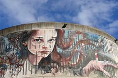 Aberdeen Girl (Ian Robin Jackson) Tags: wall art city blue girl aberdeen scotland nuart sony