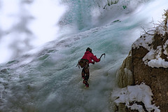 climbing Johnston canyon (Tony_Brasier) Tags: nikond7200 16mm85mm icecold canada cold climbing red mountains fun flickr alberta january johnston canyon