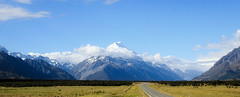 The mountain at the end of the road (geemuses) Tags: aoraki alps southernalps northisland newzealand mountcook mtcook mountains snow peaks ridgeline landscape beauty splendour majesty blue white rock green contrast color colours views nature naturalcloud clouds sky