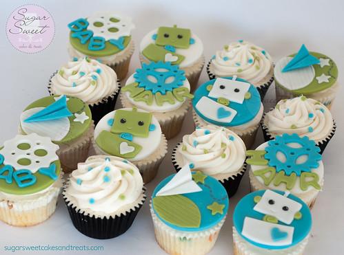 Little Robot Over the Moon Baby Shower Cupcake Toppers Paper Airplane Robot Gears- (cupcakes)