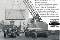 P.L.A. Jones Crane Advert (71B / 70F ( Ex Jibup )) Tags: water mobile docks moving wire wind cable rope cargo boom cranes block lower hook shipping heavy load jib carry strut slew ballast raise shipment lifting telescopic handling counterweight portoflondon conveying
