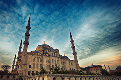 Sultan Ahmed Mosque, Istanbul, Turkey (CamelKW) Tags: sunset turkey istanbul mosque bluemosque placeofworship sultanahmedmosque istanbul20132014