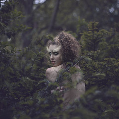 Kindred moon spirits (StephaniePearl ) Tags: portrait tree forest dark nude photography grunge evil curly conceptual cracked whitefeather stephaniepearl