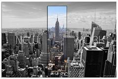 Concrete Jungle Where Dreams are Made of... (fotografdude) Tags: city blackandwhite newyork color skyline nikon skyscrapers manhattan rockefellercenter empirestatebuilding selectivecolour d90 fotografdude