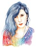 Holographic dream (Airelav - Valeria Marta Fonisto) Tags: blue woman art nature girl leaves canon watercolor painting hair studio photography idea necklace rainbow women artist drawing spirit colorfull traditional paintings hipster dream free drawings sketchbook fluid artists marta concept valeria draw watercolors holographic sogno 600d airelav watercolorist olografico fonisto