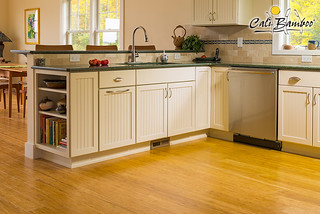 Kitchen area Natural Fossilized Wide bamboo flooring
