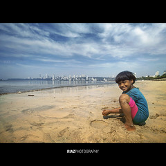 Happiness is enjoying the weekend (riaz photography) Tags: sky india beach girl smile photography is weekend happiness m bombay hassan mumbai enjoying riaz riyas riazphotography