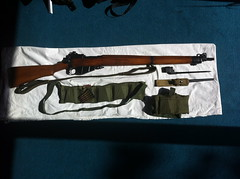 Lee Enfield  no.4 mkii. With bandoliers and stripper clips. The spike bayonet has the rare WW2 Airborne frog. (Biscuit Brown) Tags: para zombie rifle sling sniper ww2 mk2 spike airborne parachute 303 bayonet bandolier paratrooper boltaction leeenfield n04 prepper