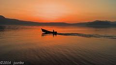Early morning in Lake Towada (jyunbo) Tags: morning lake reflection japan boat fisherman move aomori  akita towada  kosaka