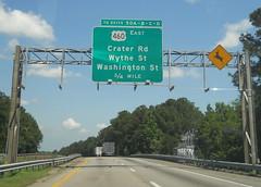 Exit 50 (peachy92) Tags: vacation virginia petersburg va roadsign roadsigns i95 2014 petersburgva petersburgvirginia roadgeek biggreensign us460 nikoncoolpixl22 vacation2014