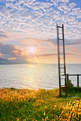 stairway to heaven (Mimadeo) Tags: sunset sky cloud sun up grass promotion vertical clouds stairs way religious climb high stair heaven paradise god outdoor path horizon faith jesus progress stairway growth end destination eden ladder concept rise spiritual success sunbeam mystic