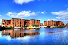 Liverpool (Tony Shertila) Tags: city blue england sky urban reflection building water weather architecture liverpool boat dock europe day cityscape britain storage warehouse clear visitors hdr albertdock merseyside