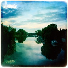 Great Ouse, St Neots (firstnameunknown) Tags: sky reflection water clouds reflections river boats evening bluesky stneots greatouse johnslens iphoneography hipstamatic maximuslxixfilm