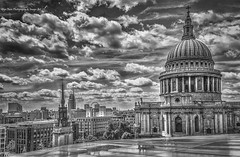St Paul's - Monochrome (Glyn Owen Photography & Image-Art) Tags: new uk bridge england reflection london eye tower rooftop st skyline architecture point one construction cityscape cathedral pauls icon palace historic dome change british column wren cloudscape vantage ldn monomonday surprisestpauls