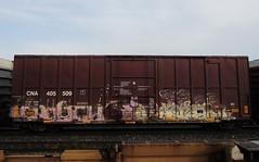 KAYAH, HEROE (YardJock) Tags: railroad graffiti spraypaint boxcar piece freighttrain benching paintedsteel boxcarart benchreport