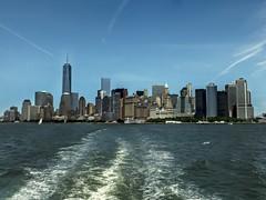 Manhattan Skyline on way to Liberty Island | NY | 2014-06 (acharyyajoy) Tags: blue newyork landscapes boat ship manhattan jetty bluesky batterypark manhattanskyline ellisisland libertyisland acharyyajoy joyacharyya