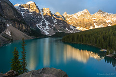 Moraine Lake sunrise with breeze (NettyA) Tags: travel trees summer lake canada mountains reflection nature sunrise landscape alberta northamerica banffnationalpark morainelake canadianrockies 2014 valleyofthetenpeaks sonynex6 nettya janetteasche