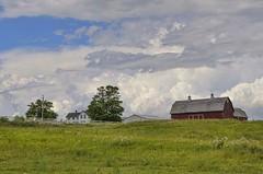 Wisconsin Summer (MalaneyStuff) Tags: sky wisconsin clouds barn rural landscape nikon midwest cloudy farm july farmland silo badger redbarn bigbend 2014 newberlin kitlense d5100 pwpartlycloudy nb20140727