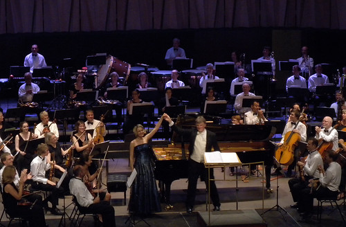 DSCN6005c Arta Arnicane with conductor John Gibbons. William Alwyn Piano Concerto No. 2. Ealing Symphony Orchestra, Cesis Art Festival, Latvia 26th July 2014
