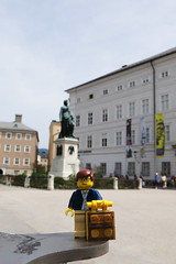 Travels of badger - Mozartplatz in Salzberg (enigmabadger) Tags: trip travel vacation music toy austria europe lego fig sightseeing eu sound amadeus minifig custom rodgers salzberg mozart wolfgang hammerstein minifigure brickarms