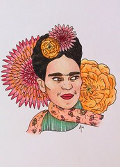 Frida Kahlo (AspiringArt) Tags: pink red portrait orange woman art face yellow illustration pencils mexico person colorful drawing frida mexican painter colored illustrator kahlo