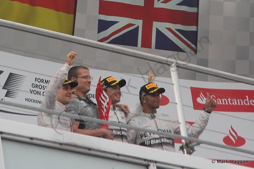 The podium celebrations after the 2014 German Grand Prix