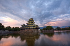 Matsumoto Castle (dabananabunch) Tags: old blue sunset building tower castle japan architecture clouds japanese evening nikon war sonnenuntergang angle traditional wide gimp sigma jo hour  samurai mm matsumoto schloss 1020  hdr burg luminance  japanische  matsumotojo    d5200